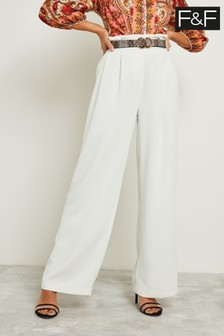F&F White Textured Wide Leg Trouser