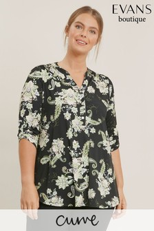 Evans Curve Multi Paisley Floral Shirt