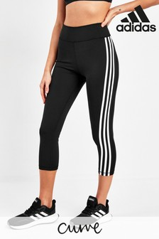 adidas Curve Black 3 Stripe 3/4 Leggings