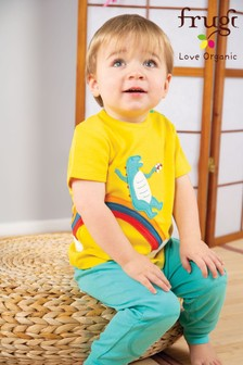 Frugi GOTS Organic Short Sleeve T-Shirt In Yellow With A Dinosaur And Rainbow Appliqué