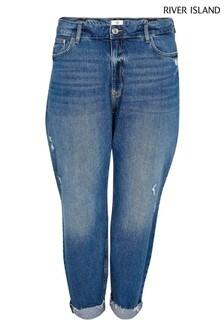 River Island Plus Blue Denim Medium Carrie Coulee Hr Mom Sculpt Jeans