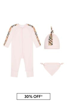 Burberry Kids Baby Girls Pink Cotton Gift Set