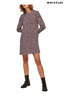 Whistles Burgundy People Print Georgina Dress
