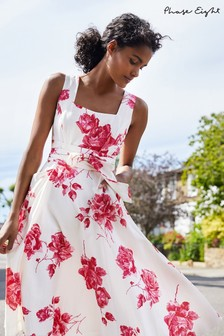 Phase Eight White Elfrida Rose Heritage Print Dress