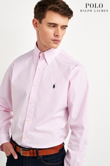 Polo Ralph Lauren® Pink Check Custom Fit Poplin Shirt