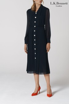 L.K.Bennett Blue Fozette Shirt Dress