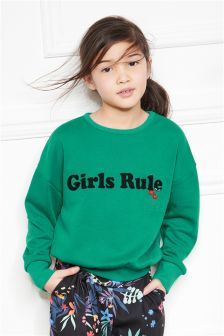 Girls Rule Slogan Sweat (3-16yrs)
