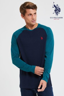 U.S. Polo Assn. Green Contrast Raglan Ringer T-Shirt