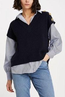 River Island Navy Stripe Knitted Vest Hybrid Shirt