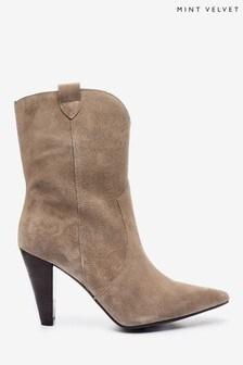 Mint Velvet Cream Flynn Cowboy Boots