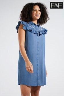 F&F Blue Embroidery Detial Mini Dress
