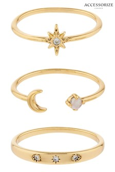 Accessorize Gold Z 3X Celestial Ring Set