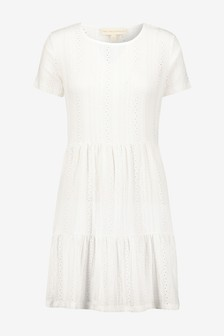 Broderie Short Sleeve T-Shirt Dress