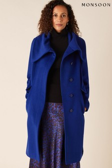 Monsoon Blue Keryn Wrap Collar Belted Coat