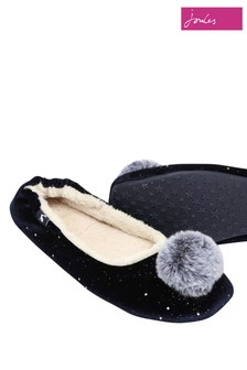 Joules Blue Pombury Ballet Slipper With Pom