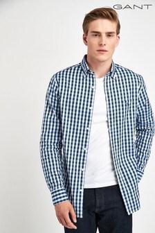 GANT Blue Heather Oxford Gingham Regular Shirt