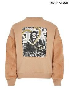 River Island Camel Cat Girl Faux Fur Sweater