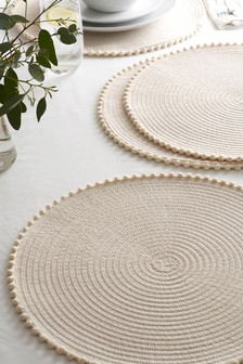 Set of 4 Pom Pom Placemats