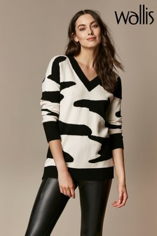 Wallis Mono V-Neck Jumper