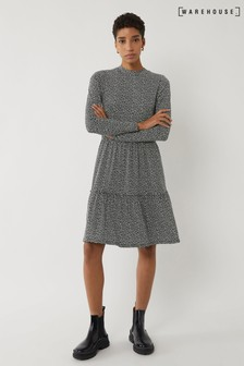 Warehouse Black Brushed Spot Tiered Mini Dress