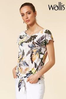 Wallis Citrus Palm Burnout Tie Front Shirt