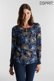 Esprit Blue Long Sleeved Viscose Crepe Blouse
