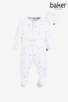 Baker by Ted Baker Baby Boys Elephant Stripe Sleepsuit With Bib