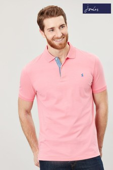 Joules Pink Jersey Polo Plain Poloshirt