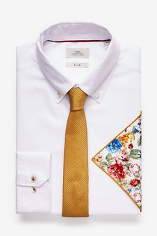 Slim Fit Shirt With Tie And Printed Pocket Square Set