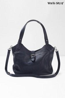 White Stuff Blue Bonnie Leather Hobo Bag