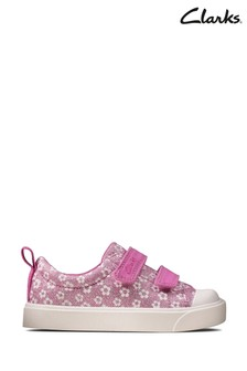 Clarks Pink Floral City Bright T Canvas Shoes