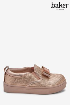 Baker By Ted Baker Rose Gold Bow Slip-Ons