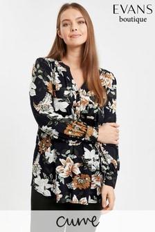 Evans Curve Black Floral Jersey Shirt