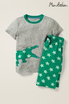 Boden Grey Printed Appliqué Pyjama Set
