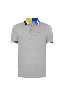 Lacoste Kids Boys Grey Cotton Polo Top