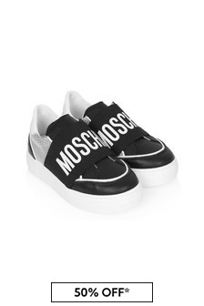 Moschino Kids Boys Black Leather Trainers