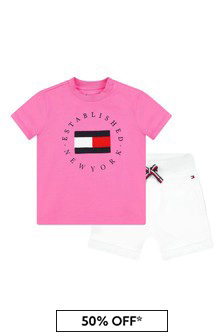 Tommy Hilfiger Baby Pink Cotton T-Shirt And Shorts