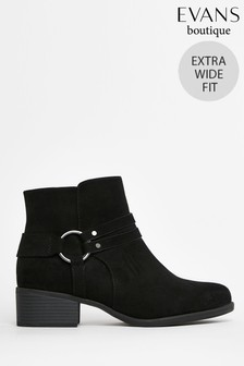 Evans Extra Wide Fit Black Square Toe Ring Detail Ankle Boots
