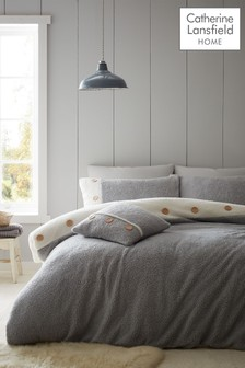 Catherine Lansfield Grey So Soft 2 Tone Buttoned Sherpa Fleece Duvet Cover and Pillowcase Set