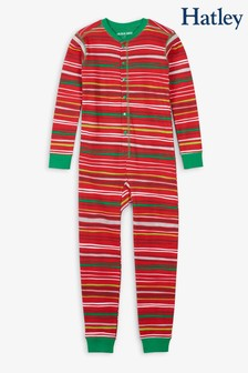 Hatley Red Holiday Stripes Kids Union All-In-One