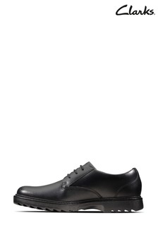 Clarks Black Leather Asher Jazz Y Shoes