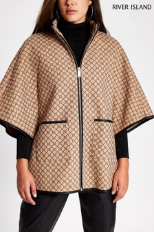River Island Brown Print Jude Cape