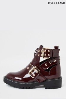 River Island Burgundy Quaver Cut Out Chunky Boots