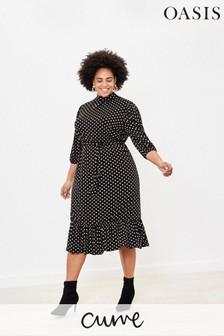 Oasis Black Curve Spot Midi Dress
