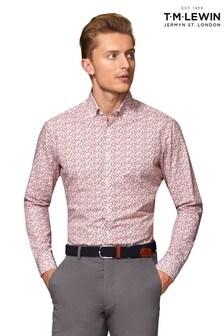 T.M. Lewin Plum Poplin Ditsy Floral Slim Fit Shirt