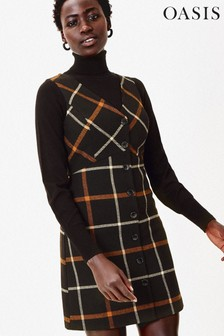 Oasis Brown Check Billie Shift Dress