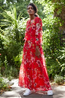 Phase Eight Red Bernadette Floral Chiffon Maxi Dress