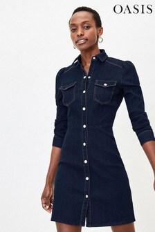 Oasis Blue Denim Mini Shirt Dress