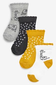 4 Pack Giraffe Socks (Younger)