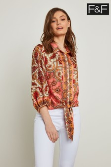 F&F Coral Coral Paisley Tie Front Shirt